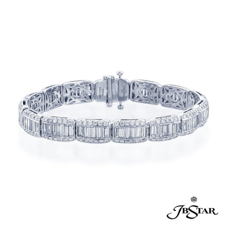 Diamond bracelet exquisitely crafted with straight baguette in center channel and round diamonds in a micro pave setting. Handcrafted in pure platinum. [details] Stone Information SHAPE TYPE WEIGHT Straight Baguette Round Diamond Diamond 8.26 ctw. 2.57 ctw. [enddetails] | JB Star 0413-002 Bracelets