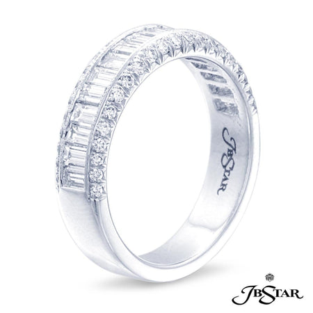 This beautifully crafted multi-row diamond band features 19 perfectly matched straight baguette diamonds meticulously edged in round diamonds. Handcrafted in platinum. [details] Stone Information SHAPE TYPE WEIGHT Straight Baguette Round Diamond Diamond 0.76 ctw. 0.24 ctw. [enddetails] | JB Star 0416-004 Anniversary & Wedding