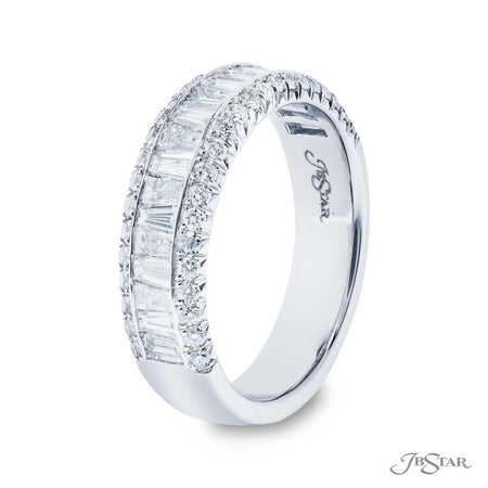 Stunning diamond wedding band featuring a center row of tapered baguette diamonds edged by two rows of round diamond pave. Handcrafted in pure platinum. [details] Stone Information SHAPE TYPE WEIGHT Tapered Baguette Diamond 0.93 ctw. Round Diamond 0.37 ctw. [enddetails] | JB Star 0416-008 Anniversary & Wedding