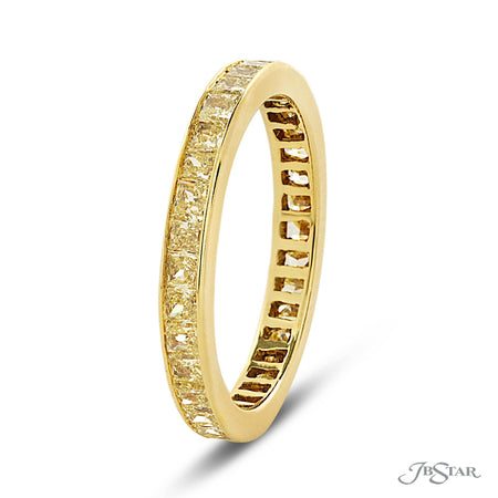 Fancy Yellow Princess Cut Diamond Eternity Ring in 18K YG 0427-002