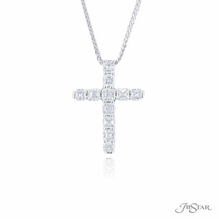 0445-003 | Diamond Cross Pendant Asscher-Cut 2.01 ctw.