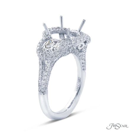 Beautiful diamond semi mount featuring 2 round diamonds bezel-set in a micro pave halo setting. Handcrafted in pure platinum. [details] Stone Information SHAPE TYPE WEIGHT Round Diamond 2.54 ctw. [enddetails] | JB Star 0481-002 Semi Mount Settings