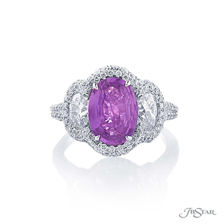 Platinum 2.47 ct Oval Pink Sapphire and Diamond Ring 0483-014