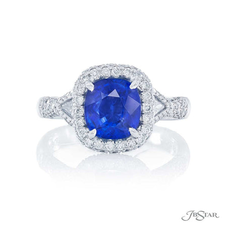 2.12 ct. Cushion-Cut Blue Sapphire and Diamond Ring 0490-060