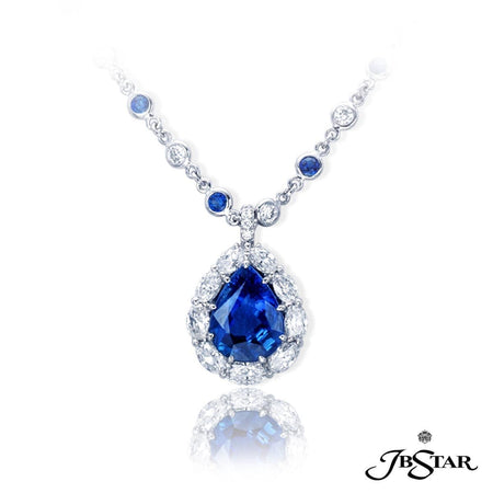 Sapphire pendant featuring a beautiful 6.24 ct. pear shape blue sapphire encircled by oval diamonds. Platinum. Paired with chain 1022-002. [details] Center Stone(s) SHAPE TYPE WEIGHT Pear Sapphire 6.24 ct. Stone Information SHAPE TYPE WEIGHT Oval Round Diamond Diamond 2.11 ct. 0.04 ct. [enddetails] | JB Star 0512-040 Pendants