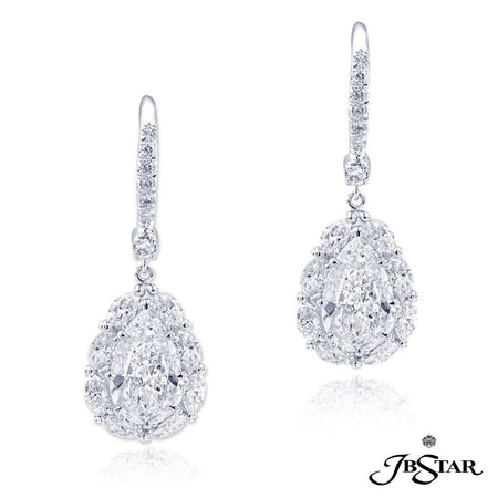 Magnificent diamond drop earrings featuring GIA certified pear-shape diamond centers encircled by marquise and round diamonds. Handcrafted in platinum. [details] Center Stone(s) SHAPE TYPE WEIGHT COLOR CLARITY Pear Shape Pear Shape Diamond Diamond 1.58 ct. 1.54 ct. D D SI2 SI2 Stone Information SHAPE TYPE WEIGHT Marquise Round Diamond Diamond 1.14 ct. 0.16 ct. [enddetails] | JB Star 0512-046 Earrings