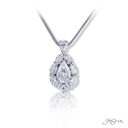 Dazzling diamond pendant featuring a 1.01 ct. GIA certified pear shape diamond encircled by oval diamonds hung by a pear shaped diamond. Handcrafted in pure platinum. [details] Center Stone(s) SHAPE TYPE WEIGHT COLOR CLARITY Pear Diamond 1.01 ct. D SI2 Notes: GIA Stone Information SHAPE TYPE WEIGHT Oval Diamond 1.42 ctw. Pear Diamond 0.21 ctw. [enddetails] | JB Star 0512-050 Pendants