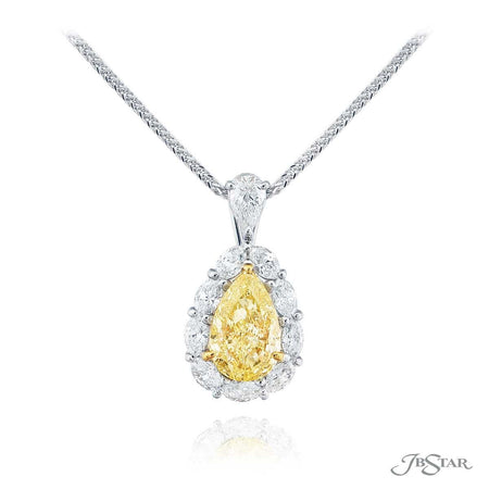 Beautiful fancy yellow diamond pendant featuring a 1.80 ct. GIA certified pear-shaped fancy yellow diamond center encircled by marquise diamonds and hung by a round diamond. Handcrafted in platinum and 18KY gold. [details] Center Stone(s) SHAPE TYPE WEIGHT COLOR CLARITY Pear Diamond 1.80 ct. Fancy Yellow SI1 Notes: GIA Stone Information SHAPE TYPE WEIGHT Marquise Diamond 0.87 ctw. Round Diamond 0.23 ctw. [enddetails] | JB Star 0512-052 Pendants