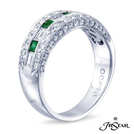 Exquisitely crafted wedding band featuring 4 square emerald-cut emeralds and 5 square baguette diamonds enhanced with pave accents. Handcrafted in pure platinum. [details] Center Stone(s) SHAPE TYPE WEIGHT Square Emerald Emerald 0.30 ct. Stone Information SHAPE TYPE WEIGHT Round Straight Baguettes Diamond Diamond 0.70 ctw. 0.54 ctw. [enddetails] | JB Star 0543-063 Anniversary & Wedding