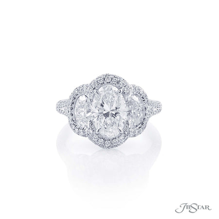 0547-003 Diamond Ring 1.65 ct Oval Cut Micro Pave