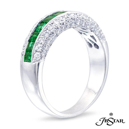 This elegant platinum band features 11 perfectly matched square-cut emeralds, edged with round diamonds. [details] Center Stone(s) SHAPE TYPE WEIGHT Square Emerald Emerald 0.84 ctw. Stone Information SHAPE TYPE WEIGHT Round Diamond 0.57 ctw. [enddetails] | JB Star 0553-050 Anniversary & Wedding