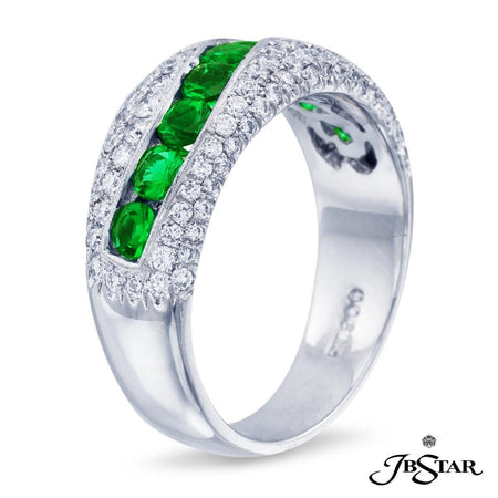 Handcrafted stunning band featuring 9 round emeralds embraced with micro pave. Platinum. [details] Center Stone(s) SHAPE TYPE WEIGHT Round Emerald 0.65 ctw. Stone Information SHAPE TYPE WEIGHT Round Diamond 0.62 ctw. [enddetails] | JB Star 0572-001 Anniversary & Wedding