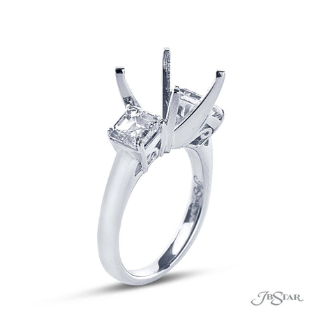 Platinum Semi-Mount Engagement Ring Square Side Diamonds Side View  0574-037