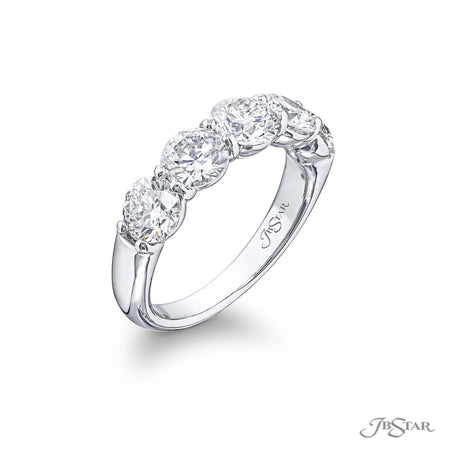 0583-032 | Diamond Wedding Band 5 Matching Round 2.68 ctw Shared Prong Side View