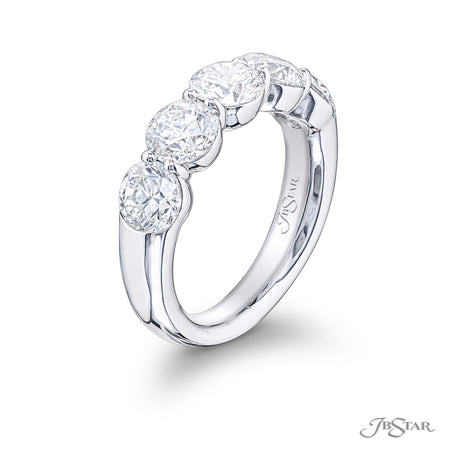 0548-001 | Diamond Wedding Band 5 Round Diamonds GIA certified Side View