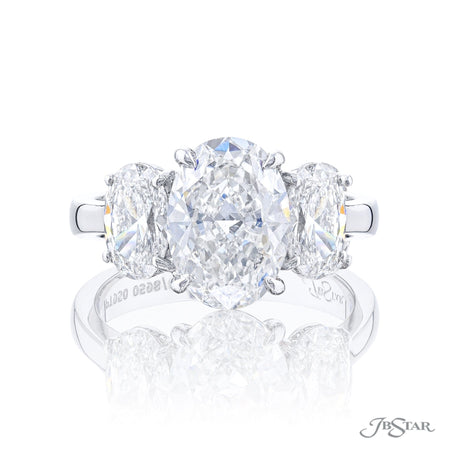 Three Stone 2.51 ct Oval Diamond engagement ring with 1.44 ctw side oval diamonds 0598-066