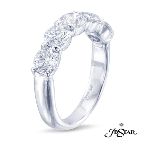 Diamond Band handcrafted with 5 perfectly matched round diamonds in shared-prong setting. Platinum. [details] Stone Information SHAPE TYPE WEIGHT Round Diamond 2.65 ctw. [enddetails] | JB Star 0600-003 Anniversary & Wedding