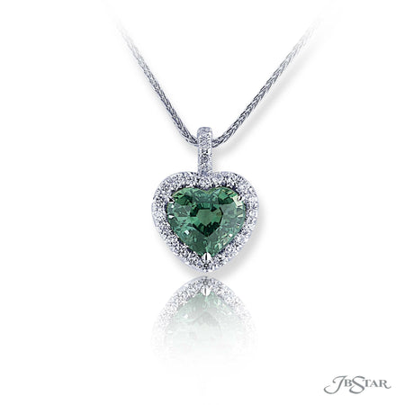 Beautiful green sapphire and diamond pendant featuring a 4.62 ct. certified