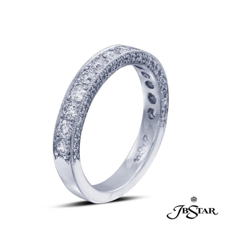 Beautiful 3 row diamond band featuring a center row of 14 round diamonds edged with diamond pave. Handcrafted in platinum. [details] Stone Information SHAPE TYPE WEIGHT Round Diamond 1.01 ctw [enddetails] | JB Star 0633-013 Anniversary & Wedding
