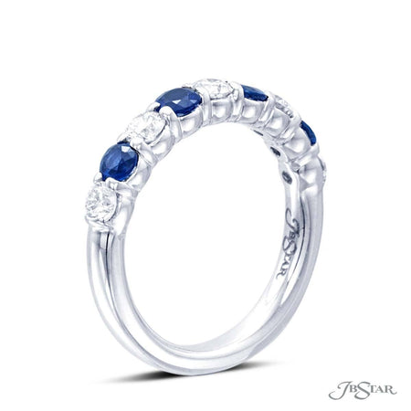 This beautiful sapphire and diamond band features 4 perfectly matched round sapphires and 5 round diamonds, handcrafted in pure platinum in a shared-prong setting. [details] Stone Information SHAPE TYPE WEIGHT Round Round Diamond Sapphire 0.62 ctw. 0.68 ctw. [enddetails] | JB Star 0668-038 Anniversary & Wedding