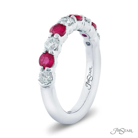 Stunning ruby and diamond band featuring round rubies and round diamonds in an alternating design. Handcrafted in pure platinum. [details] Stone Information SHAPE TYPE WEIGHT Round Diamond 0.60 ctw. Round Ruby 0.81 ctw. [enddetails] | JB Star 0682-029 Anniversary & Wedding