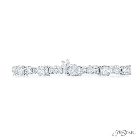 Dazzling diamond bracelet featuring 12 perfectly matched oval diamonds and round diamonds. Handcrafted in pure platinum. [details] Stone Information SHAPE TYPE WEIGHT Oval Diamond 5.44 ctw. Round Diamond 2.80 ctw. [enddetails] | JB Star 0689-001 Bracelets