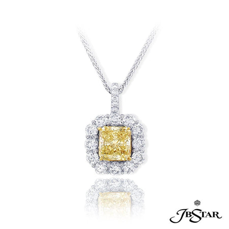 Stunning fancy light yellow diamond pendant handcrafted with a beautiful 2.12 ct. GIA certified radiant fancy light yellow diamond encircled by round diamonds. Handcrafted in platinum and 18KY Gold. [details] Center Stone(s) SHAPE TYPE WEIGHT COLOR CLARITY Radiant Diamond 2.12 ct. Fancy Light Yellow SI1 Stone Information SHAPE TYPE WEIGHT Round Diamond 1.40 ct. [enddetails] | JB Star 0702-014 Pendants