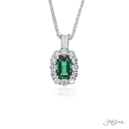 Stunning emerald and diamond pendant featuring a 1.22 ct. emerald-cut emerald encircled by round diamonds and hung by a tapered baguette diamond. Handcrafted in pure platinum. [details] Center Stone(s) SHAPE TYPE WEIGHT Emerald Emerald 1.22 ctw. Stone Information SHAPE TYPE WEIGHT Tapered Baguette Round Diamond Diamond 0.21 ctw. 0.80 ctw. [enddetails] | JB Star 0702-017 Pendants