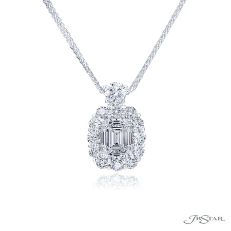 0702-020 | Diamond Pendant 1.52 ct. Emerald-Cut Encircled Design