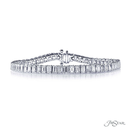 Dazzling diamond bracelet featuring 60 beautiful emerald cut diamonds in a shared prong setting. Handcrafted in pure platinum. [details] Stone Information SHAPE TYPE WEIGHT Emerald Diamond 12.85 ctw. [enddetails] | JB Star 0704-003 Bracelets