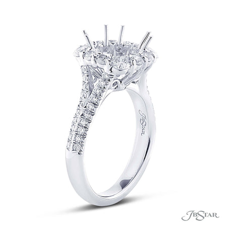 Beautiful diamond semi-mount featuring round diamonds in a micro pave halo setting. Handcrafted in pure platinum. [details] Stone Information SHAPE TYPE WEIGHT Round Diamond 1.08 ctw. [enddetails] | JB Star 0733-001 Semi Mount Settings