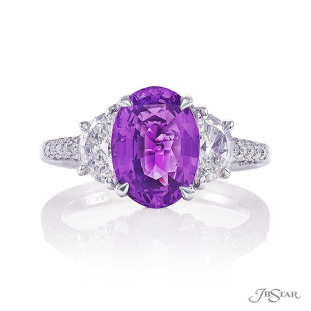 3.11ct No Heat Oval Purple Sapphire and Diamond Ring 0744-002