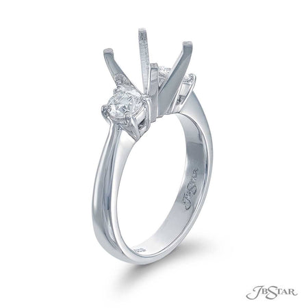Stunning diamond semi-mount featuring 2 beautifully matched round diamonds in a shared prong setting. Handcrafted in pure platinum. [details] Stone Information SHAPE TYPE WEIGHT Round Diamond 0.50 ctw. [enddetails] | JB Star 0759-078 Semi Mount Settings