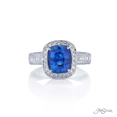 2.34 ct Cushion Cut Blue Sapphire and Micro Pave Diamond Ring, Platinum 0764-010
