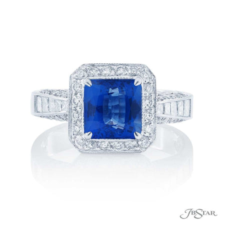 1.94 ct Princess Cut Sapphire and Micro Pave Diamond Ring 0764-126