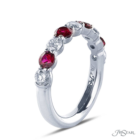 Gorgeous diamond band featuring 4 round rubies and 5 round diamonds in an alternating design. Handcrafted in a shared prong and pure platinum setting. [details] Stone Information SHAPE TYPE WEIGHT Round Round Ruby Diamond 0.79 ctw. 0.67 ctw. [enddetails] | JB Star 0775-011 Anniversary & Wedding