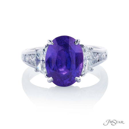 5.13 ct. No Heat Purple Sapphire and Diamond Ring, Platinum 0777-029