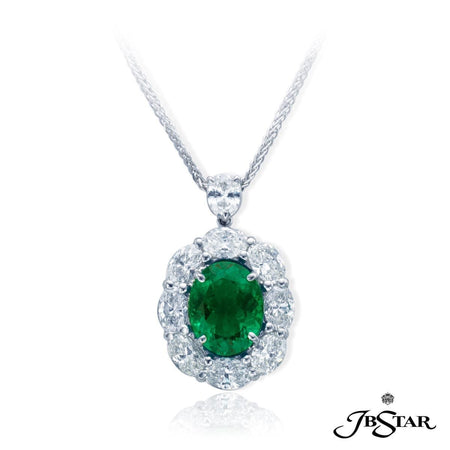 Beautiful emerald and diamond pendant featuring a 2.77 ct oval emerald encircled by oval diamonds and hung by a pear-shape diamond. Handcrafted in pure platinum. [details] Center Stone(s) SHAPE TYPE WEIGHT Oval Emerald 2.77 ct. Stone Information SHAPE TYPE WEIGHT Oval Pear Diamond Diamond 2.23 ctw. 0.27 ctw. [enddetails] | JB Star 0779-020 Pendants