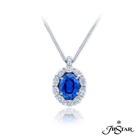 Dazzling pendant features a 3.53 ct. oval sapphire center, embraced by perfectly matched oval diamonds. Handcrafted in pure platinum. [details] Center Stone(s) SHAPE TYPE WEIGHT Oval Sapphire 3.53 ct. Stone Information SHAPE TYPE WEIGHT Oval Round Diamond Diamond 1.48 ctw. 0.04 ctw. [enddetails] | JB Star 0779-040 Pendants