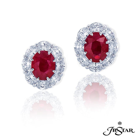 Platinum 4.02 ctw Oval Cut Ruby and Diamond Stud Earrings | 0779-043