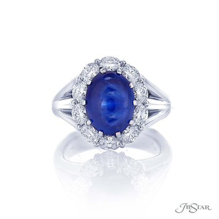 7.38 ct Oval Cabochon Blue Sapphire & Diamond Ring 0779-055 Top View