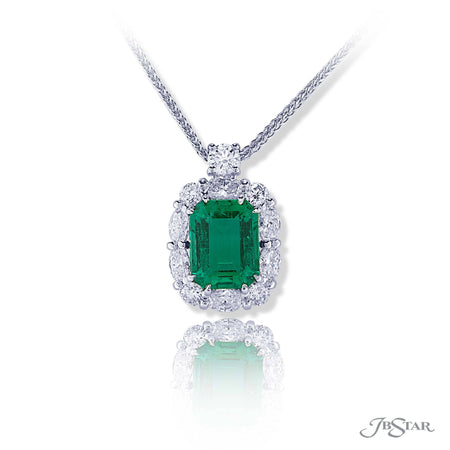 Gorgeous emerald and diamond pendant featuring a 3.39 ct certified emerald-cut Zambian Minor emerald encircled by round and oval diamonds hung by a round diamond. Handcrafted in pure platinum. [details] Center Stone(s) SHAPE TYPE WEIGHT Emerald Emerald 3.39 ct. Stone Information SHAPE TYPE WEIGHT Oval Round Diamond Diamond 0.96 ctw. 0.59 ctw. [enddetails] | JB Star 0779-058 Pendants