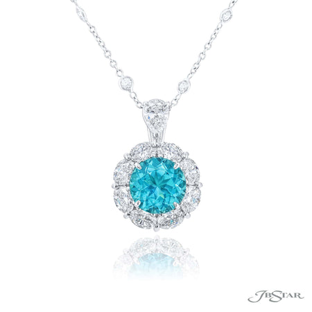 0779-068 | Paraiba & Diamond Pendant Certified 2.92 ct. Round
