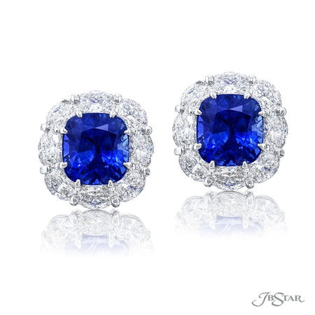 0779-069 Cushion Cut No-Heat Sapphire and Diamond Stud Earrings Front view