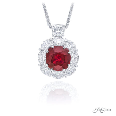 0779-071 | Burmese Ruby Pendant Cushion Cut 3.43 ct. CDC Certified