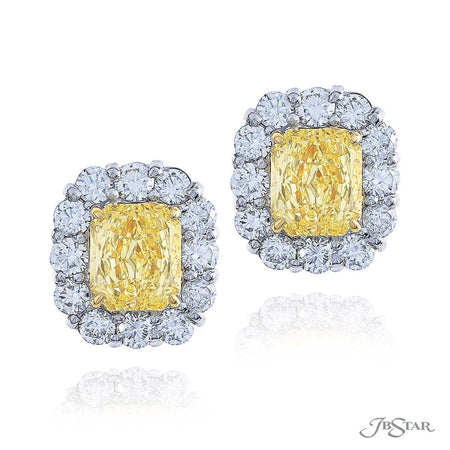 Dazzling fancy yellow diamond stud earrings featuring fancy intense yellow cushion-cut diamond centers encircled by round diamonds. Handcrafted in pure platinum. [details] Center Stone(s) SHAPE TYPE WEIGHT COLOR CLARITY Cushion Cushion Diamond Diamond 1.02 ct. 1.09 ct. Fancy Light Yellow Fancy Yellow SI2 VS2 Stone Information SHAPE TYPE WEIGHT Round Diamond 1.14 ctw. [enddetails] | JB Star 0783-007 Earrings