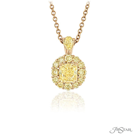Beautiful yellow diamond pendant featuring a stunning 1.25 ct. GIA certified fancy light yellow radiant-cut center encircled by round yellow diamond and hung by yellow pear shaped diamond. Handcrafted in 18KY gold. [details] Center Stone(s) SHAPE TYPE WEIGHT COLOR CLARITY Radiant Diamond 1.25 ct. Fancy Light Yellow VVS1 Stone Information SHAPE TYPE WEIGHT COLOR Round Diamond 0.73 ctw. Fancy Yellow Pear Diamond 0.23 ctw. Fancy Yellow [enddetails] | JB Star 0783-008 Pendants