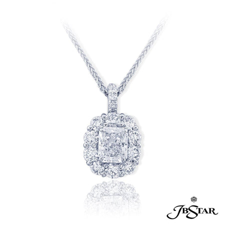 Gorgeous platinum and diamond pendant featuring a 1.34 ct. radiant cut diamond center encircled by round diamonds. [details] Center Stone(s) SHAPE TYPE WEIGHT COLOR CLARITY Radiant Diamond 1.34 ct. F SI2 Notes: GIA Stone Information SHAPE TYPE WEIGHT Oval Round Diamond Diamond 3.15 ctw. 0.10 ctw. [enddetails] | JB Star 0783-017 Pendants