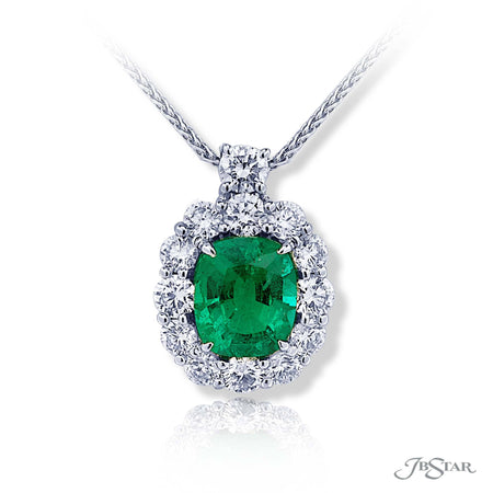 Beautiful Emerald and diamond pendant featuring a 2.62 ct. certified cushion cut Emerald encircled by round diamonds. Handcrafted in pure platinum. [details] Center Stone(s) SHAPE TYPE WEIGHT Cushion Emerald 2.62 ct. Stone Information SHAPE TYPE WEIGHT Round Diamond 1.78 ctw. [enddetails] | JB Star 0783-028 Pendants