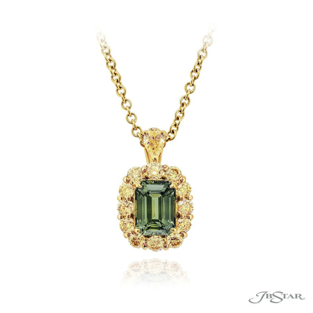 0783-033 | Green Sapphire & Diamond Pendant 4.17 ct Emerald Cut CDC